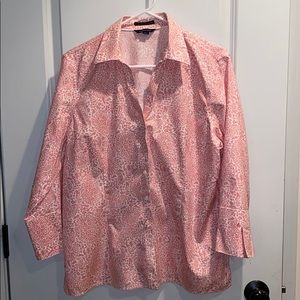 Lands' End pink and white blouse. Size 16